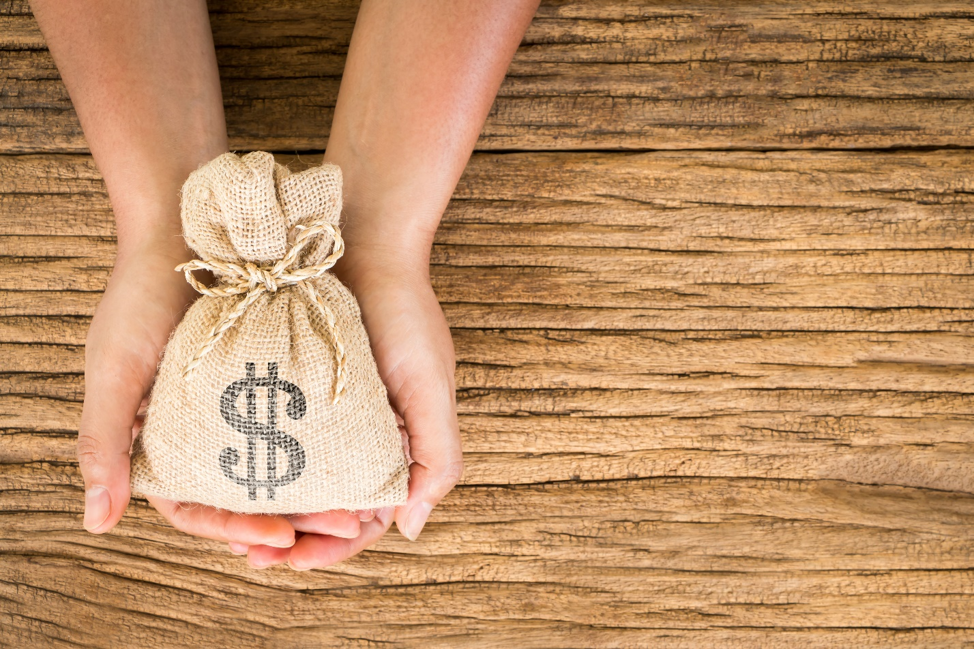 Hands holding a bag of money with a printed dollar sign symbolizing line of credit
