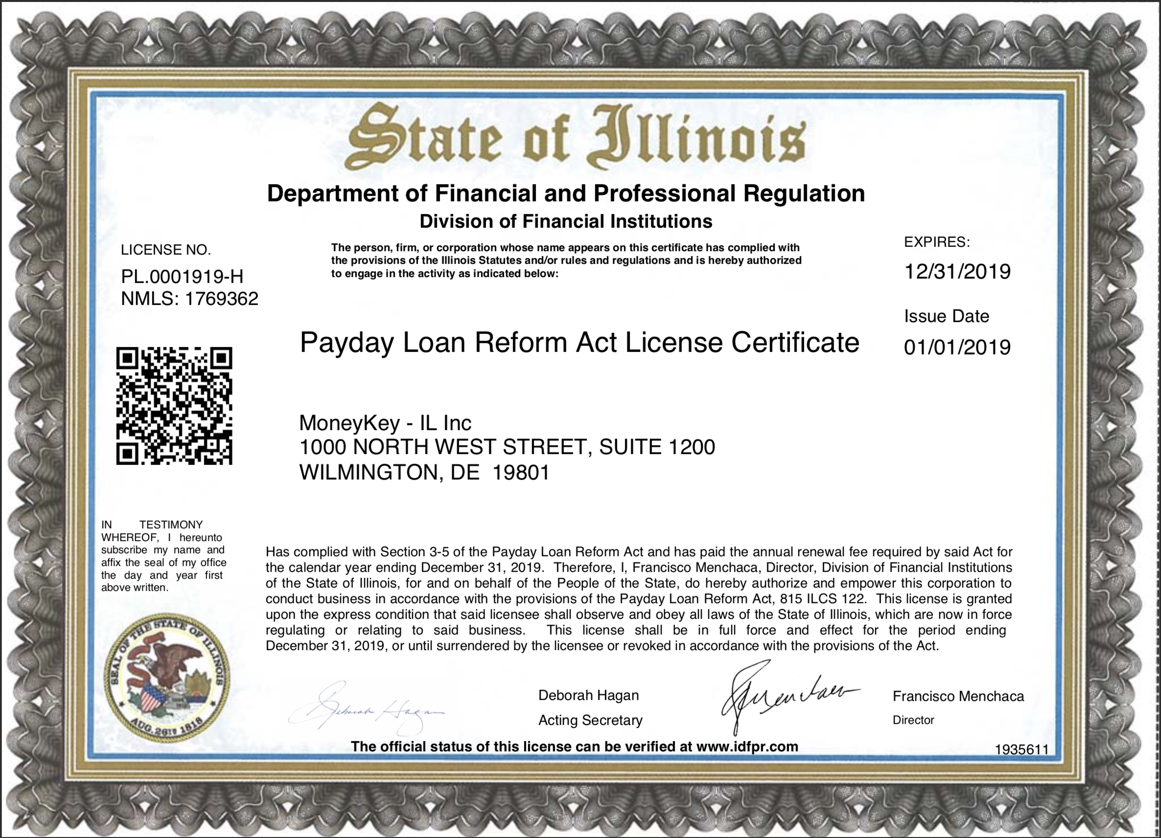 Illinois state license