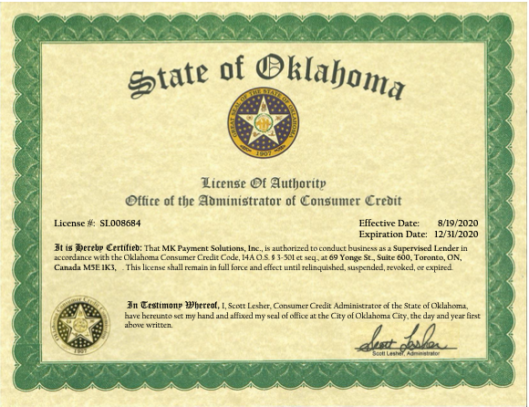 Oklahoma state license
