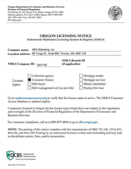 Oregon state license
