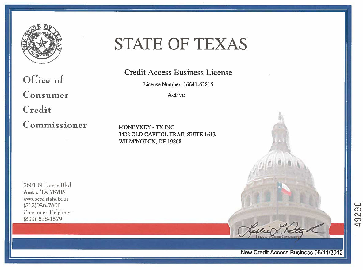Texas CAB state license