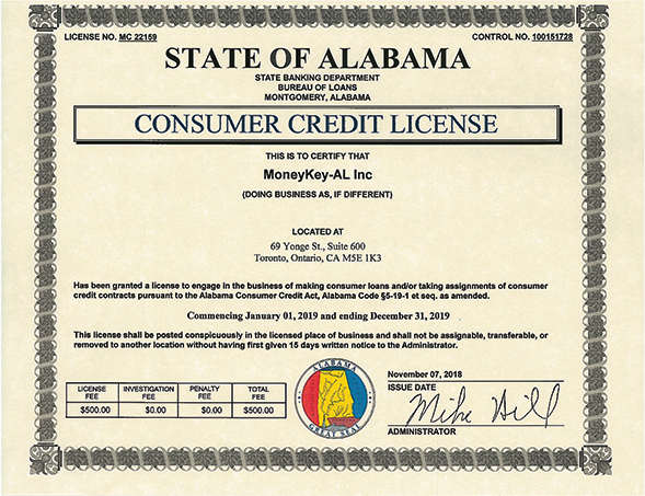 Alabama state license